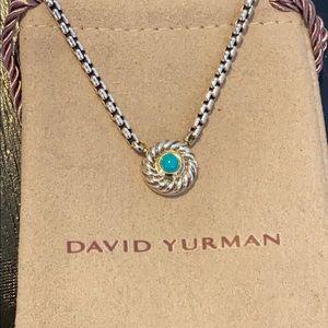 David Yurman SS/14K/Turquoise Cookie Necklace